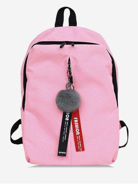 unique Faux Fur Ball Letter Print School Backpack - LIGHT PINK