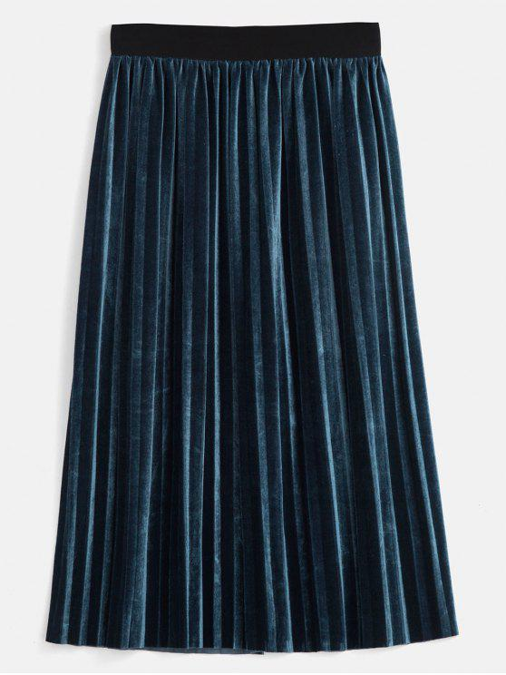 895afccd6800 31% OFF] 2019 Velvet Accordion Pleated Midi Skirt In PEACOCK BLUE ...