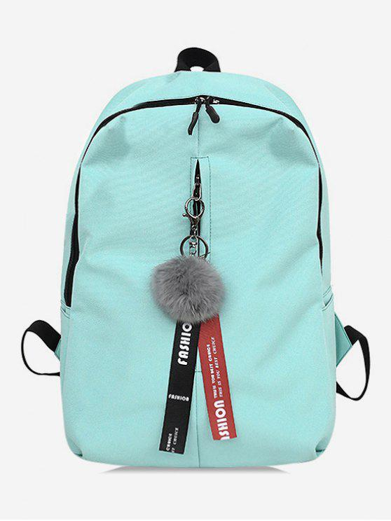 trendy Faux Fur Ball Letter Print School Backpack - LIGHT AQUAMARINE
