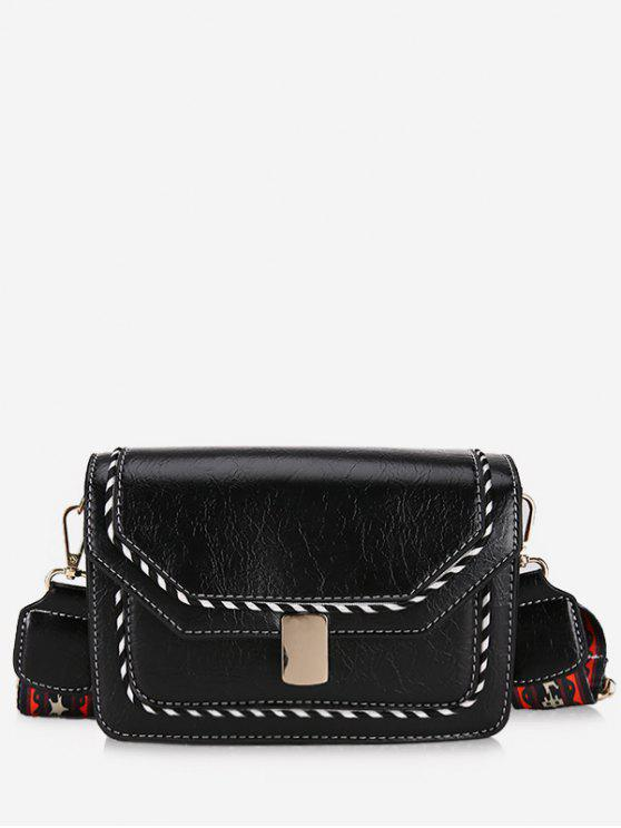 women Striped Print PU Leather Crossbody Bag - BLACK