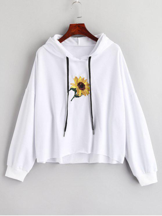 Sweat à Capuche Fleur Brodée avec Paillette - Blanc S