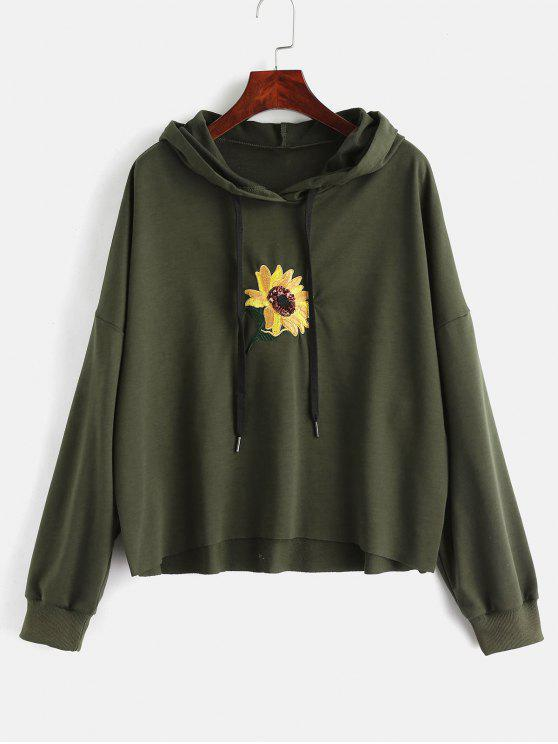 shops Sequin Flower Embroidered Hoodie - ARMY GREEN L
