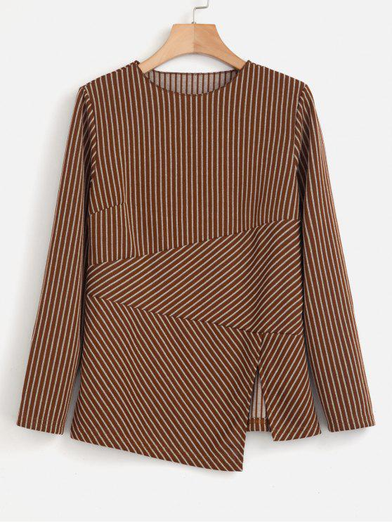 best Long Sleeve Striped Paneled Top - BROWN M