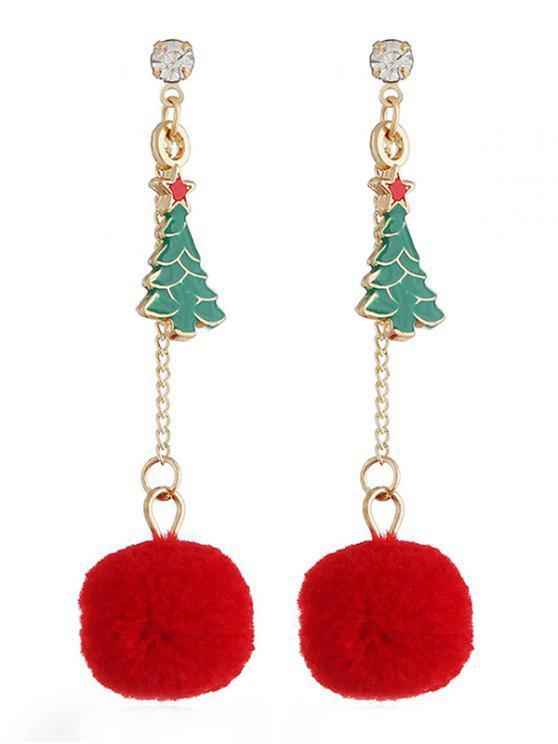 trendy Stylish Christmas Tree Pom Pom Drop Earrings - MULTI