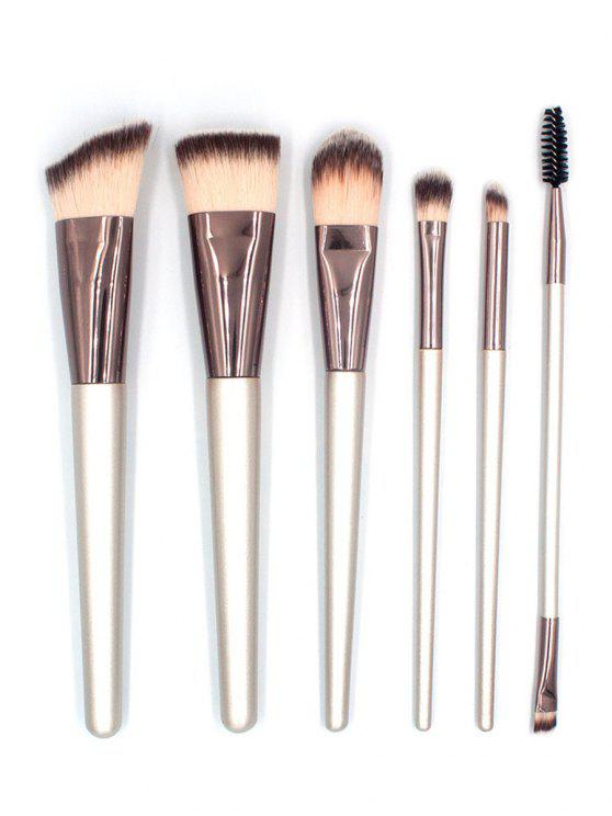 chic 6 Pcs Synthetic Fiber Hair Foundation Eyeshadow Eyebrow Travel Makeup Brush Suit - SILVER