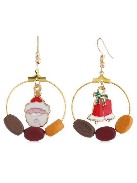 unique Cute Santa Claus Bell Round Hook Earrings - MULTI