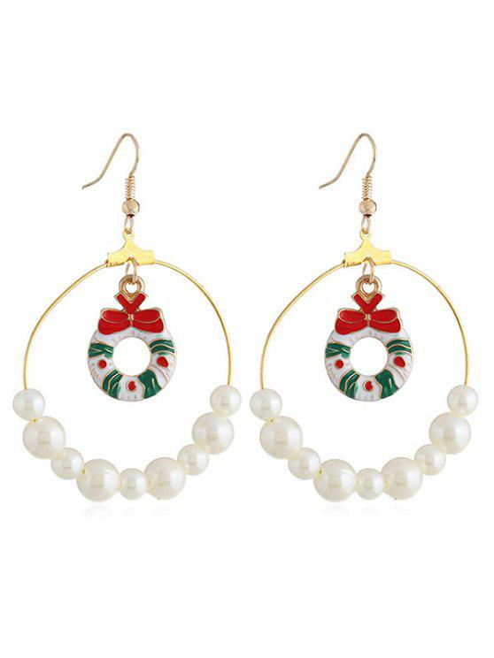 sale Christmas Bowknot Faux Pearl Round Drop Earrings - GOLD