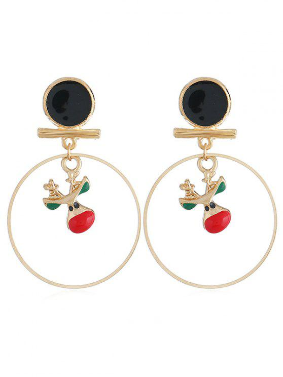 womens Cartoon Elk Rounded Alloy Earrings - GOLD