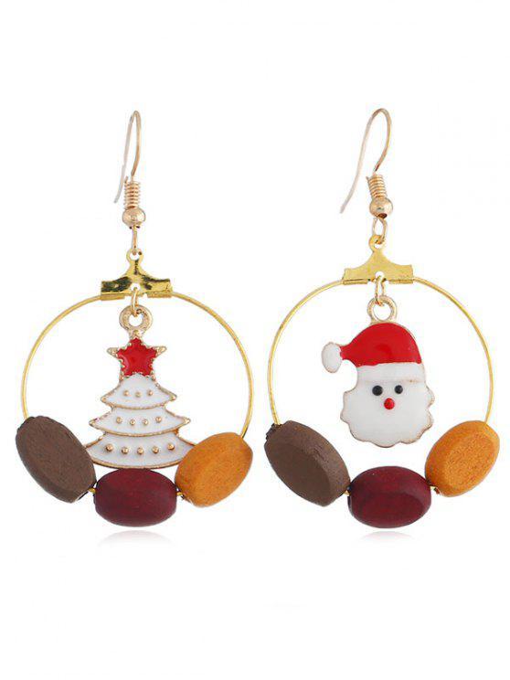 women Christmas Snowman Tree Round Hook Earrings - GOLD