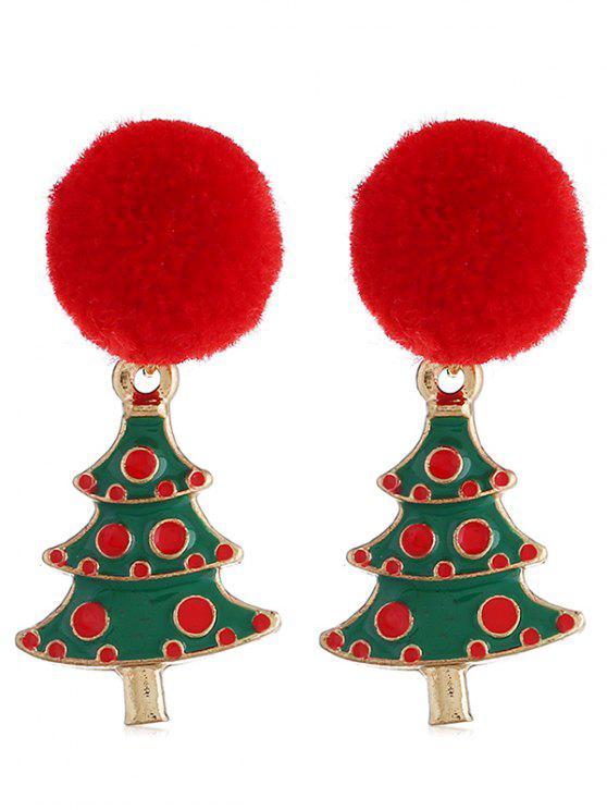 women's Christmas Tree Pom Pom Party Earrings - MULTI