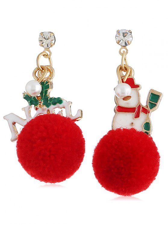 lady Christmas Snowman Fuzzy Ball Party Earrings - MULTI