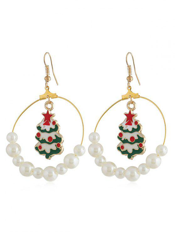 hot Christmas Tree Faux Pearl Party Drop Earrings - GOLD