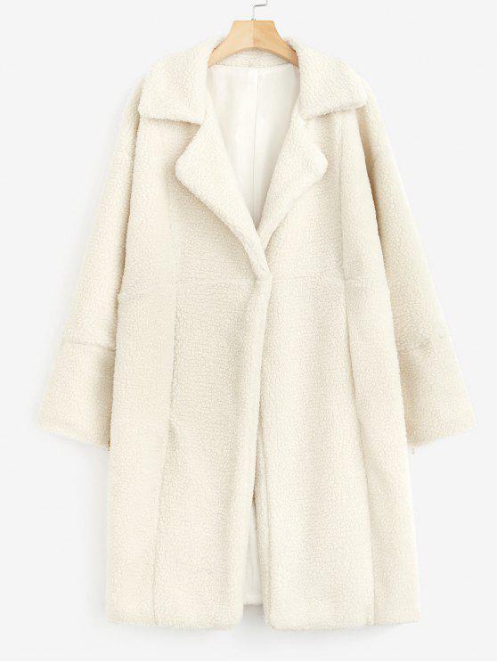 Manteau d'Hiver Long Fourré en Fausse Laine - Beige XL