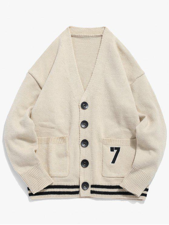 unique Button Fly Solid Color Knitted Cardigan - LIGHT KHAKI 2XL