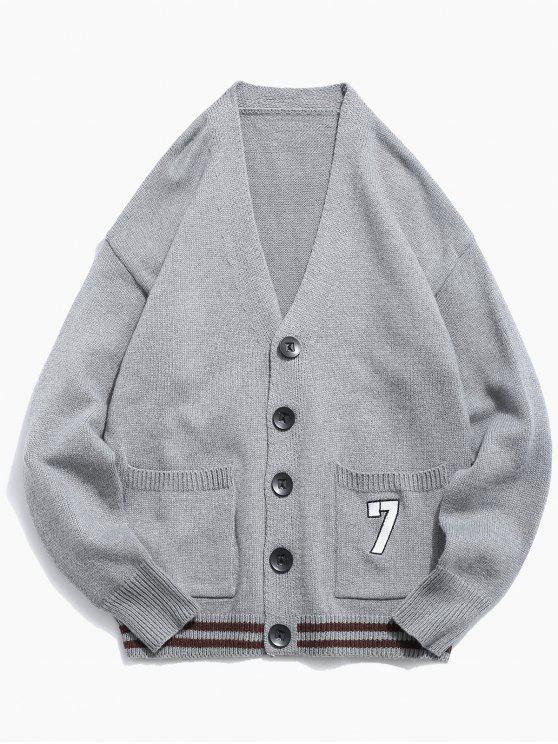Cardigan Tricoté Boutonné en Couleur Unie - Nuage Gris XL