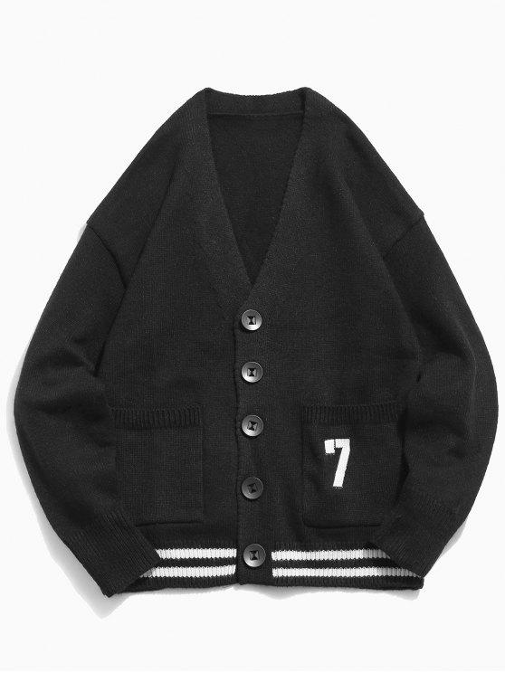 ladies Button Fly Solid Color Knitted Cardigan - BLACK M