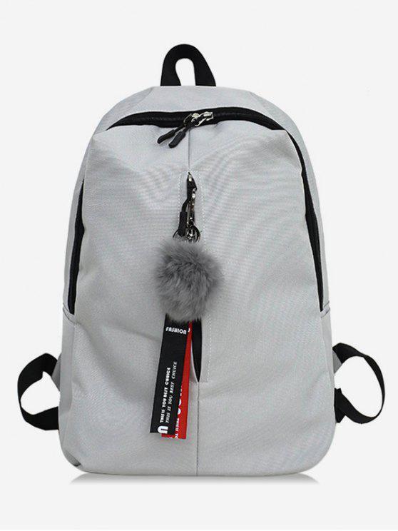unique Faux Fur Ball Letter Print School Backpack - ASH GRAY