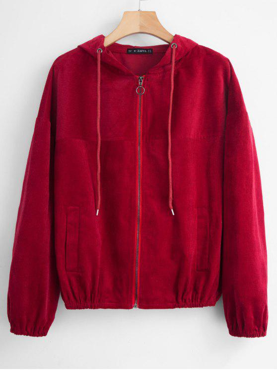 chic ZAFUL Hooded Zip Up Corduroy Jacket - RED WINE M