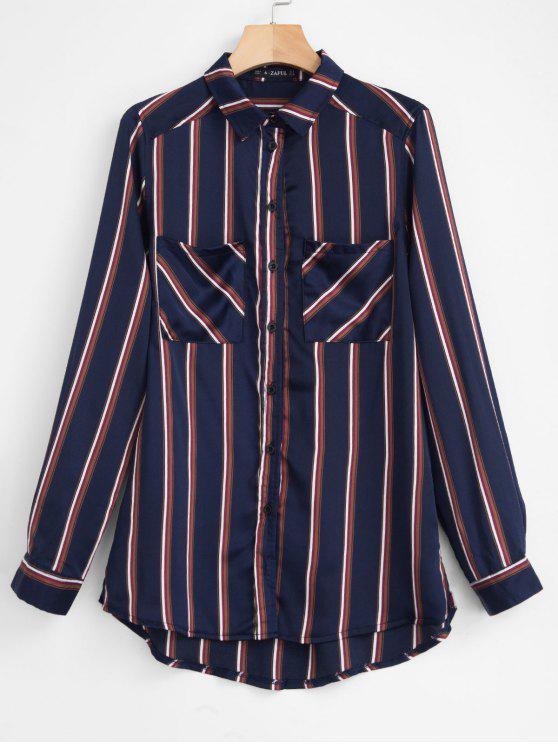 hot ZAFUL Chest Pockets Striped Shirt - DEEP BLUE M