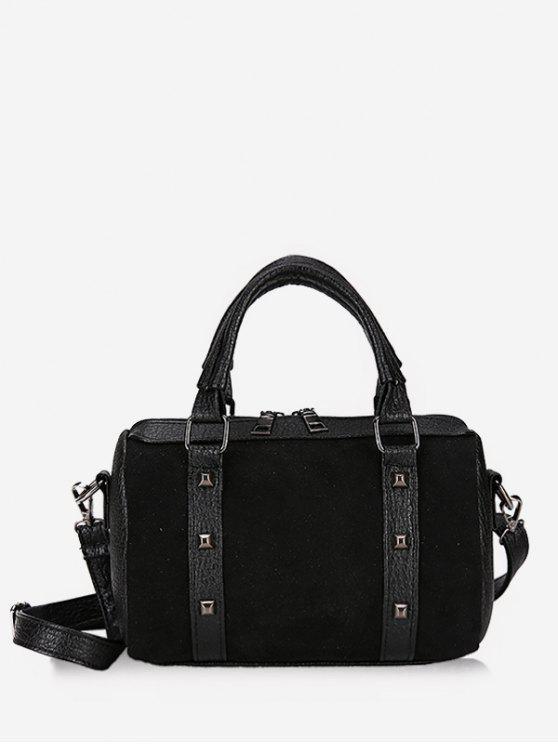 chic Multi Functional Rivet Tote Bag - BLACK