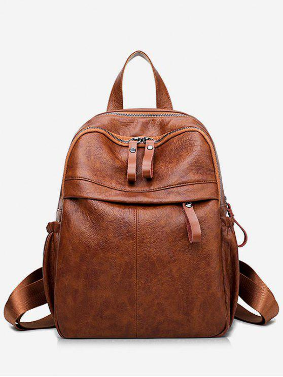 sale Large Capacity PU Leather School Backpack - BROWN