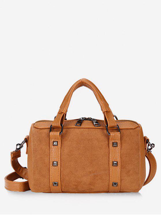 affordable Multi Functional Rivet Tote Bag - BROWN