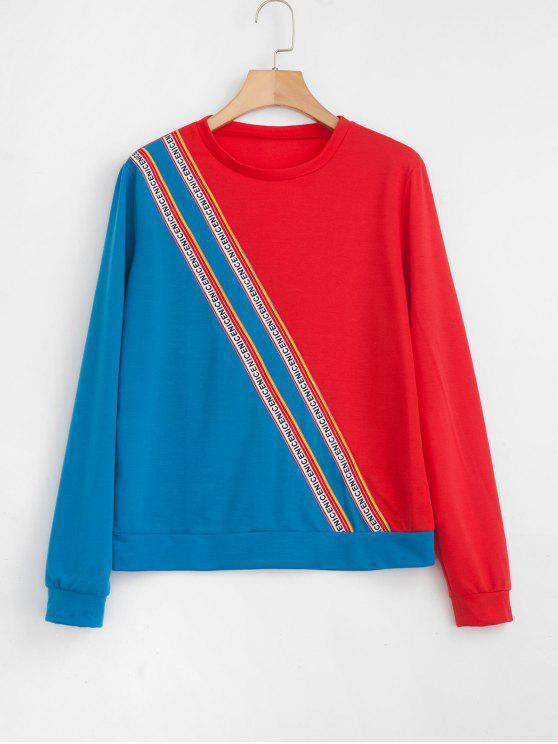 new Two Tone Striped Trim Sweatshirt - MULTI M