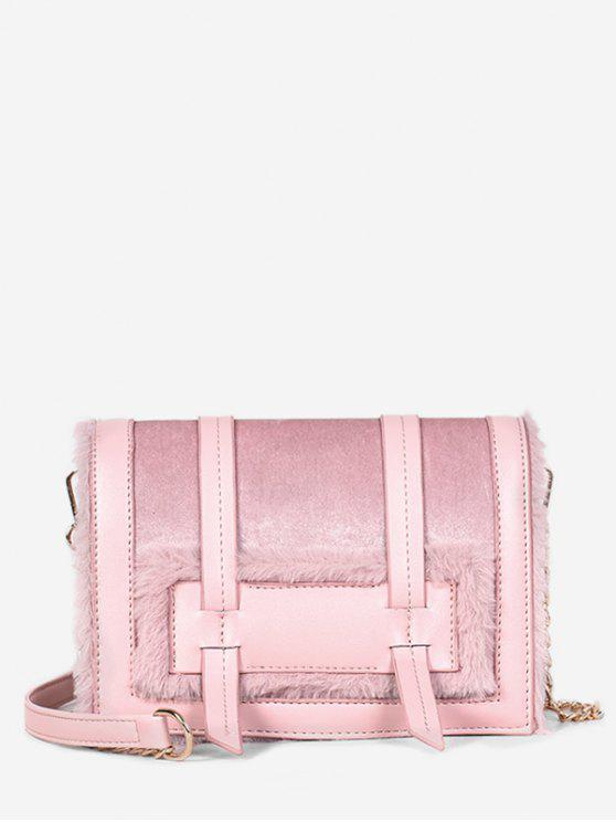 fashion Solid Faux Fur Chic Crossbody Bag - LIGHT PINK