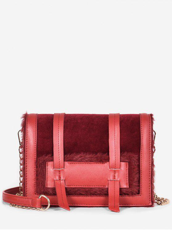 best Solid Faux Fur Chic Crossbody Bag - RED WINE