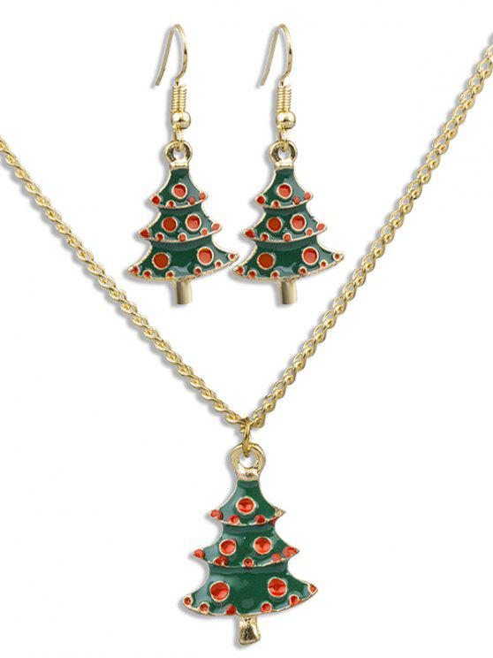 online Christmas Tree Alloy Party Jewelry Suit - MULTI