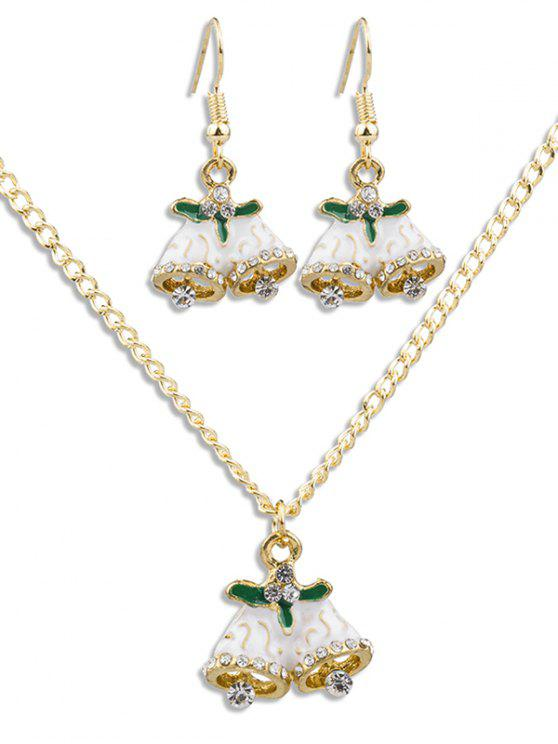 shop Christmas Bell Rhinestone Alloy Jewelry Suit - GOLD
