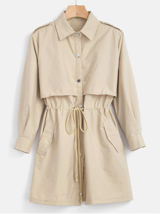 unique Lightweight Drawstring Trench Coat - BLANCHED ALMOND XL