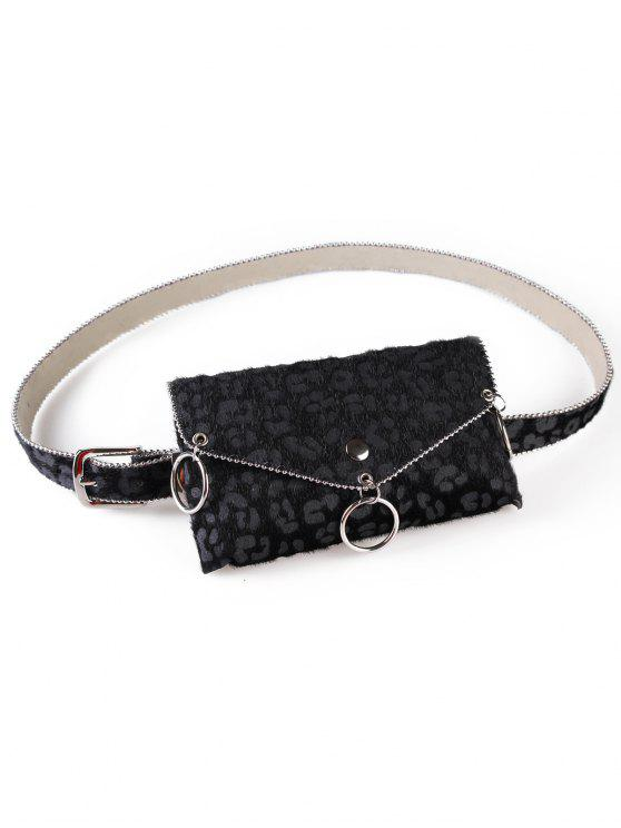 online Punk Leopard Print Fanny Pack Belt Bag - BLACK
