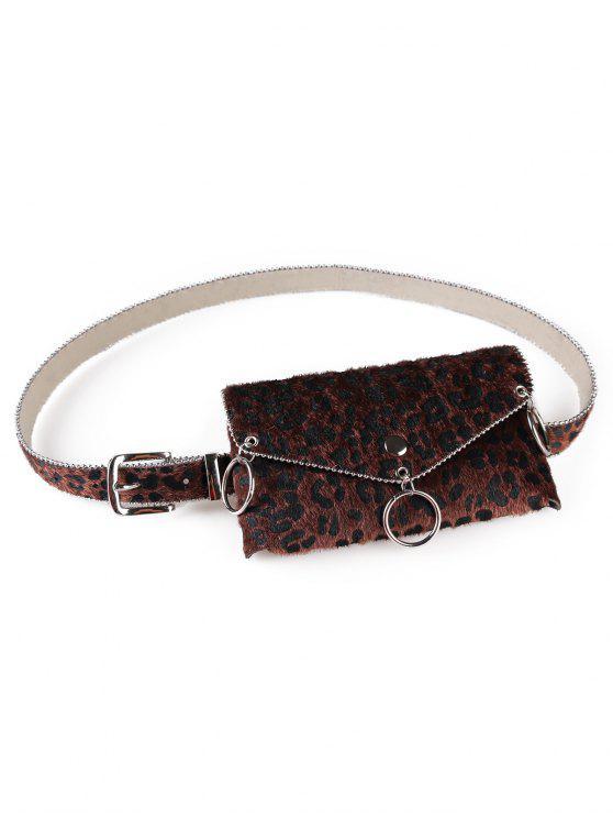 hot Punk Leopard Print Fanny Pack Belt Bag - COFFEE