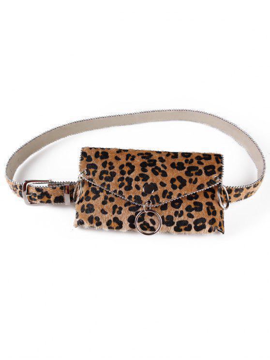 outfits Punk Leopard Print Fanny Pack Belt Bag - DARK GOLDENROD