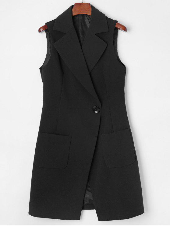 outfits Lapel Long Pocket Waistcoat - BLACK L