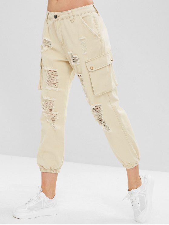 Jeans de basculante lateral de bolso afligido - Branco Quente S