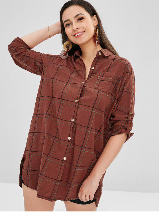 27bd778ecaf77 23% OFF  2019 Cuffed Sleeves Plaid Pocket Dress In CHERRY RED