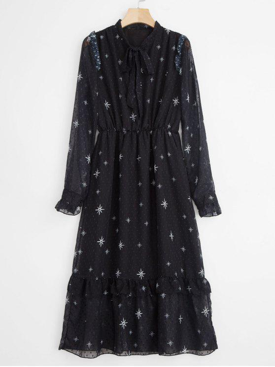 hot Tie Neck Printed Midi Dress - BLACK ONE SIZE