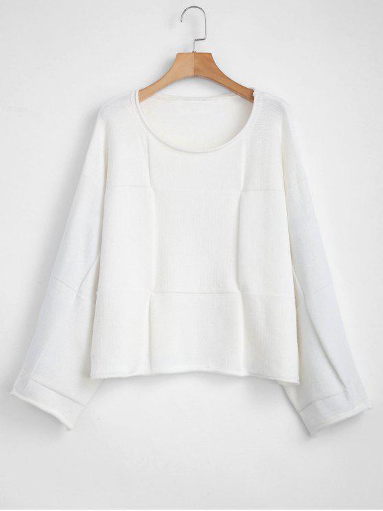 fancy Wide Sleeve Oversized Sweater - WHITE S