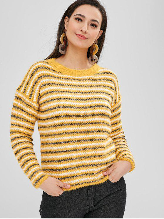 unique Loose Fit Striped Sparkle Sweater - BRIGHT YELLOW ONE SIZE