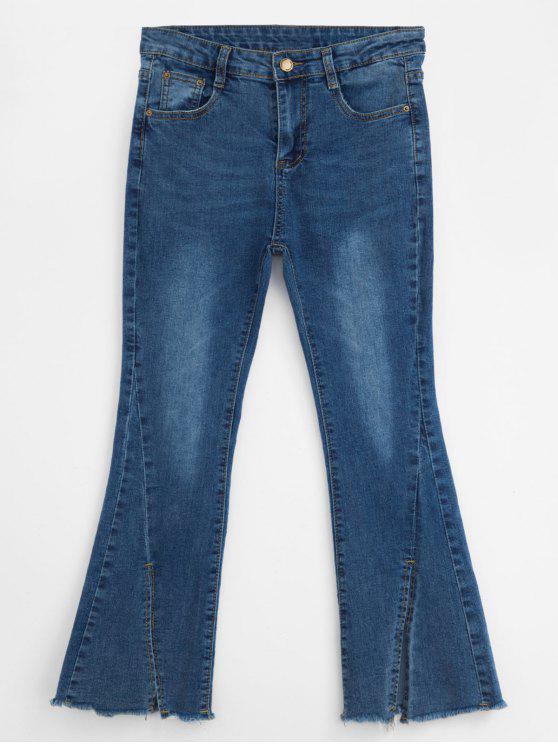 Jeans de corte de inicialização de fenda com zíper - Azul cobalto L