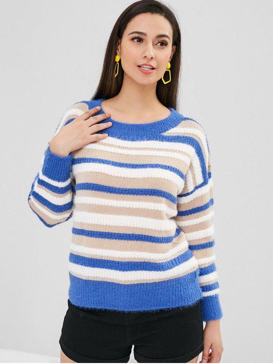 latest Loose Fit Contrast Striped Sweater - MULTI ONE SIZE
