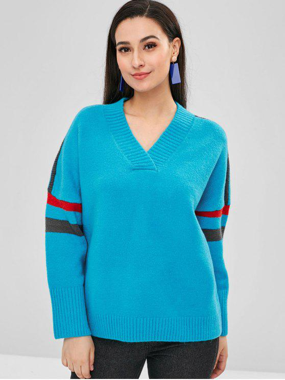 outfit Striped V Neck Loose Fit Sweater - DEEP SKY BLUE ONE SIZE