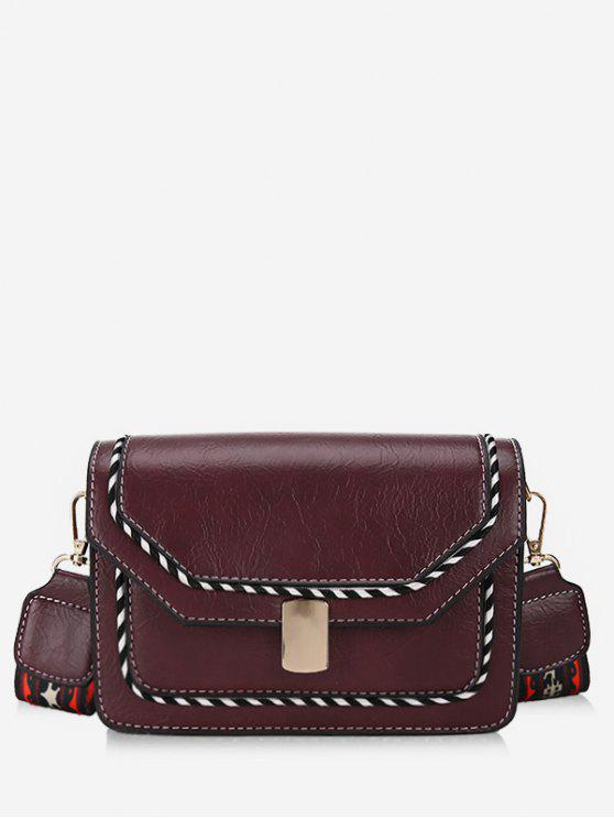 online Striped Print PU Leather Crossbody Bag - DULL PURPLE