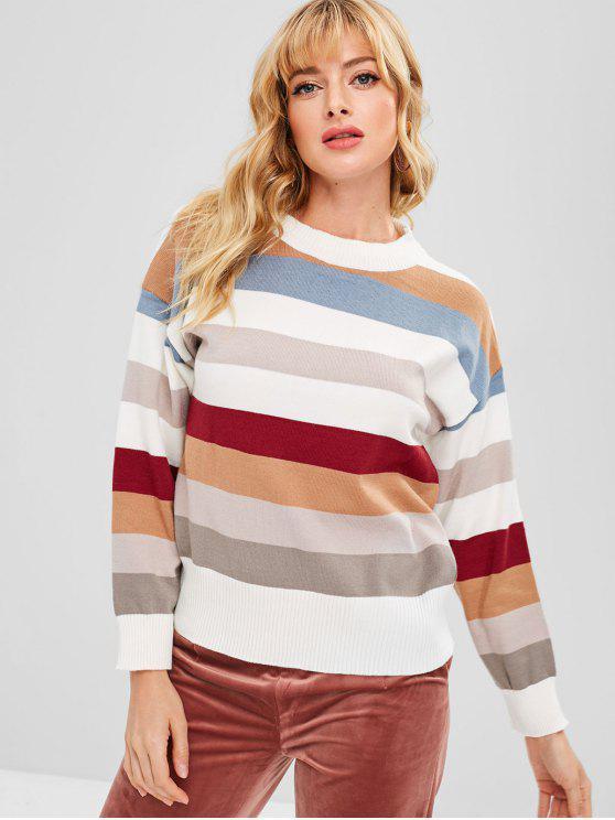 unique Color Block Loose Striped Sweater - MULTI ONE SIZE