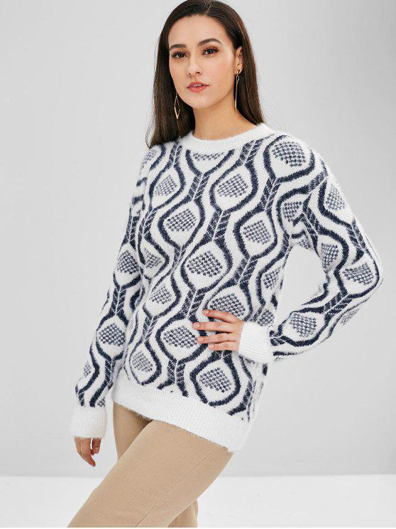 ladies Graphic Pattern Crew Neck Sweater - WHITE ONE SIZE