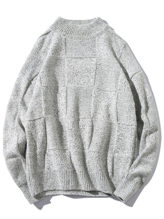 sale High Neck Abstract Grid Weave Sweater - LIGHT GRAY S