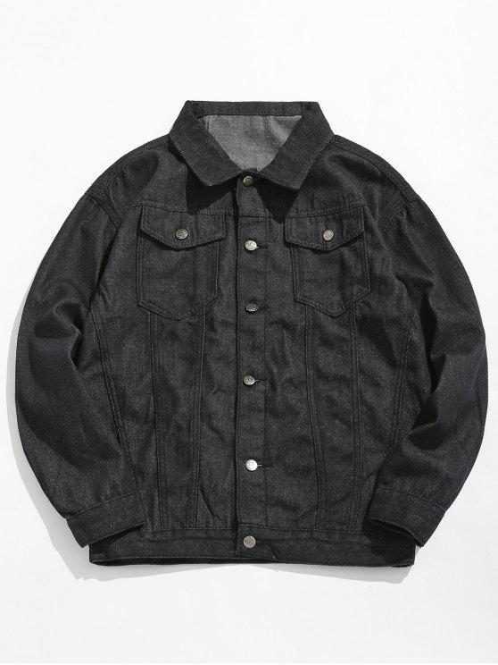 fashion Loose Fit Button Fly Denim Jacket - BLACK L