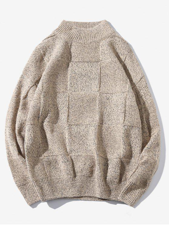 hot High Neck Abstract Grid Weave Sweater - LIGHT KHAKI M